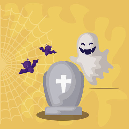 tombstone with ghost and bats flying in scene halloween vector illustration design