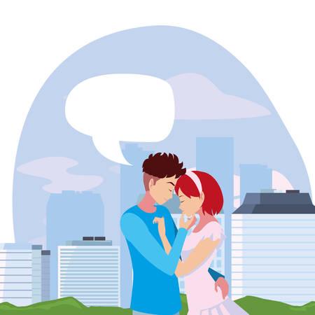romantic couple hugging city park vector illustration Ilustración de vector