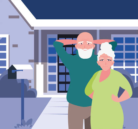 happy grandparents day - couple grandparents standing front house vector illustration