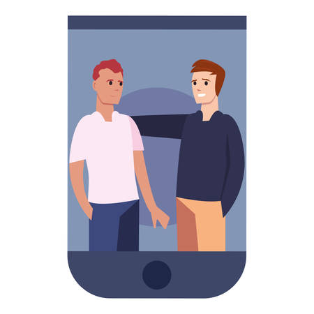 men together in smartphone happy young people vector illustration