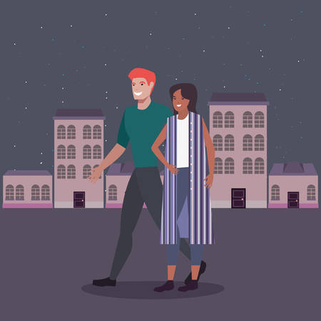 man and woman in the city street