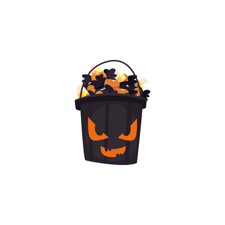 bucket with candies of halloween on white background vector illustration design Ilustrace