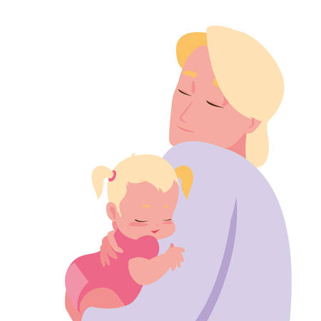 dad carrying his baby girl in arms vector illustration