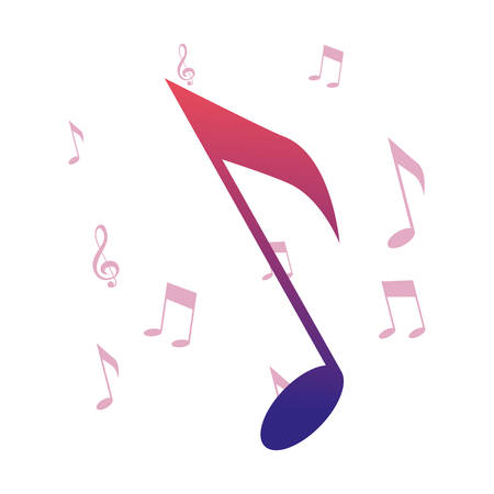 music notes melody symbol background vector illustration