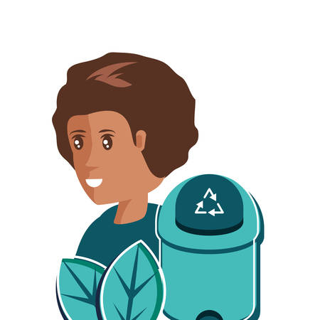 Trash and avatar woman design, Garbage recycle ecology eco save and environment theme Vector illustration Illustration
