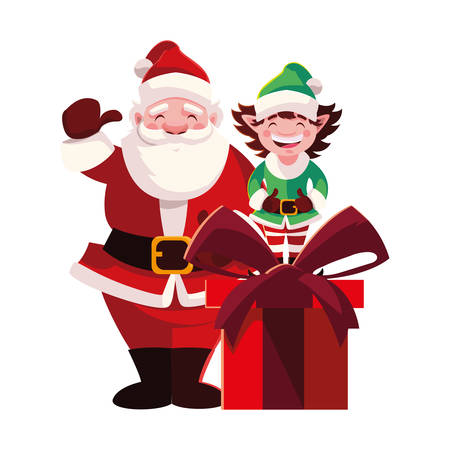 santa claus and elf with gift box on white background vector illustration design