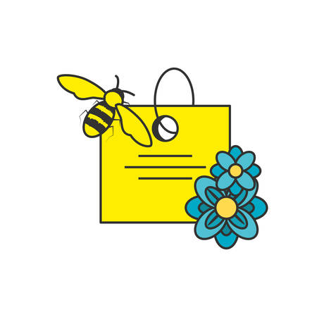 tag commercial with flowers and bee vector illustration design Illusztráció