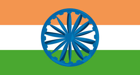 indian happy independence day invitation card wheel flagvector illustration