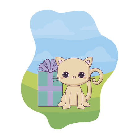 cute cat animal with gift box vector illustration design