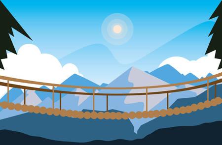 beautiful landscape scene with suspension bridge vector illustration design