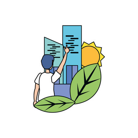 Avatar man and city design, Sustainability eco friendly green recycle ecology renewable and solution theme Vector illustration Banque d'images - 137172467