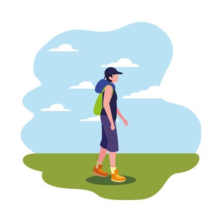 man with backpack walking wanderlust vector illustration