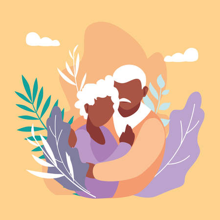 cute old couple hugged with leafs decoration vector illustration design