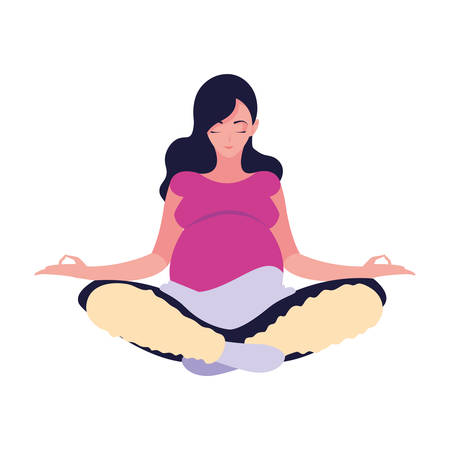 pregnant woman sitting pose yoga lotus - pregnancy and maternity vector illustration