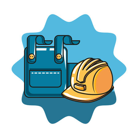 overall uniform with helmet secure vector illustration design