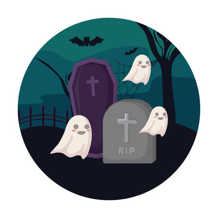 scene of ghost with icons halloween vector illustration design