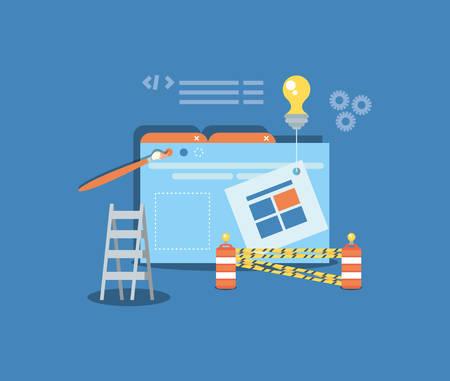 website under construction with desktop computer vector illustration