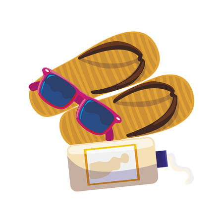 solar blocker bottle with sandals and sunglasses vector illustration design
