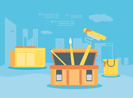 data folder with webpage under cosntruction vector illustration design Ilustração