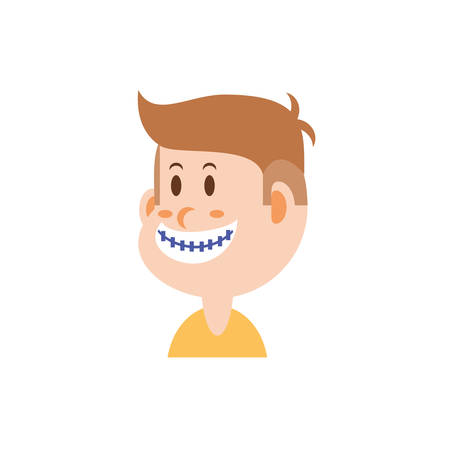 boy cartoon with brackets design, Kid childhood little people lifestyle casual person cheerful and cute theme Vector illustration