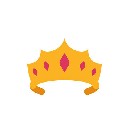 Queen pink and gold crown design, Princess royal luxury jewelry kingdom insignia emperor authority and coronation theme Vector illustration