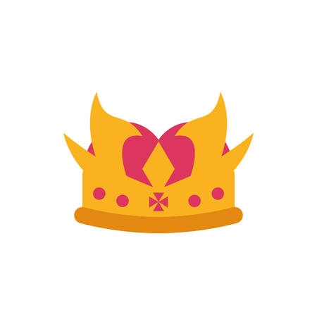 King pink and gold crown design, Prince royal luxury jewelry kingdom insignia emperor authority theme Vector illustration