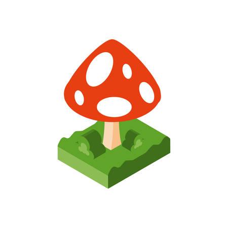 Isometric fungi mushroom design, nature fungus food forest plant and autumn theme Vector illustration