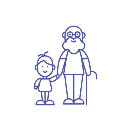 Grandfather and grandson design, Family relationship generation lifestyle person character friendship and portrait theme Vector illustration Çizim