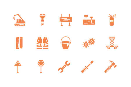 Tools icon set design, Under construction architecture work repair progress warning industry and build theme Vector illustration Ilustracja