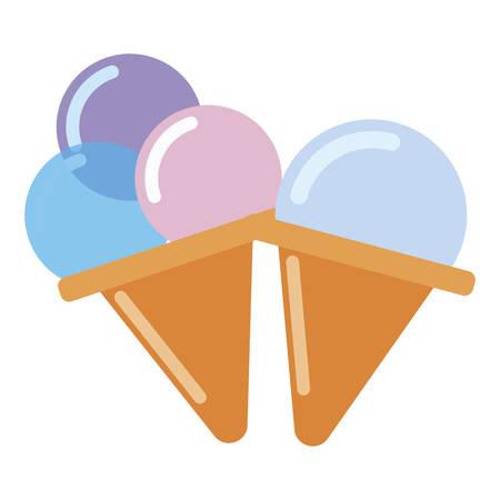 Ice creams design, Sweet dessert food flavor scoop summer dairy and tasty Vector illustration Illustration