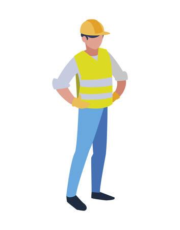 Homme d'avatar de constructeur avec la conception de casque jaune de l'atelier de travail d'ouvrier d'entretien de construction réparation et thème de progrès Illustration vectorielle