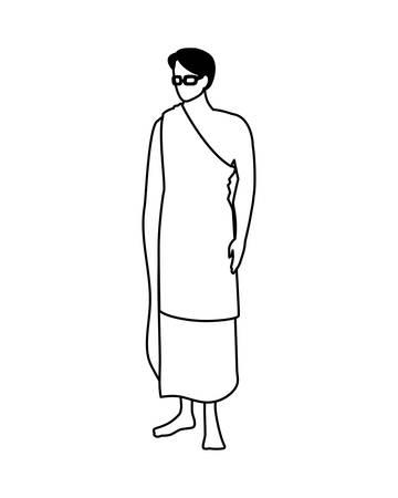man pilgrim hajj standing on white background vector illustration design Vetores