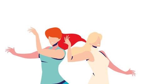 scene of women in dance pose, party, dance club vector illustration design Illustration