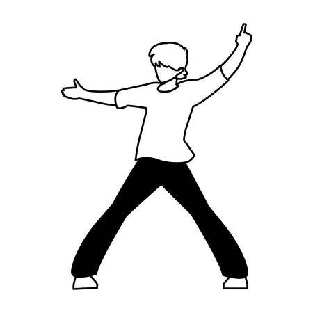 silhouette of man in pose of dancing on white background vector illustration design Illustration
