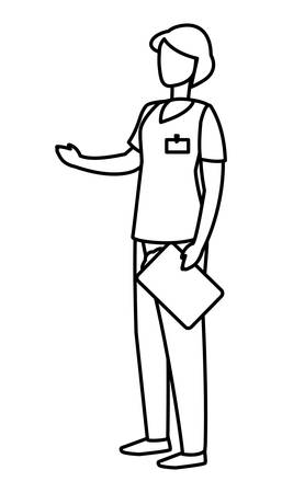 female medicine worker with uniform and documents vector illustration design Ilustrace