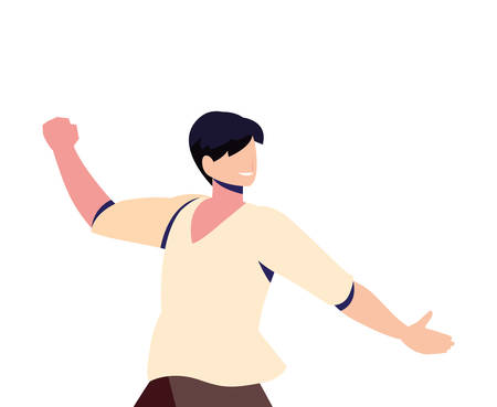 man in pose of dancing, party, on white background vector illustration design