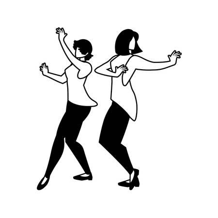 silhouette of women in pose of dancing on white background vector illustration design Illustration