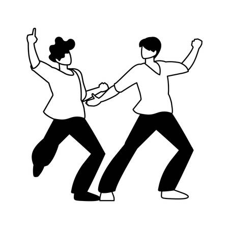 silhouette of men in pose of dancing on white background vector illustration design