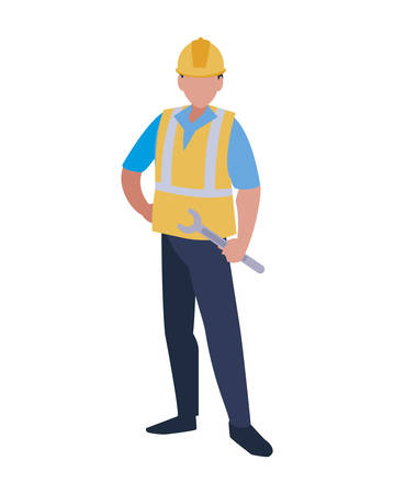 Builder avatar man with yellow helmet design of Construction working maintenance worker job workshop repairing and progress theme Vector illustration