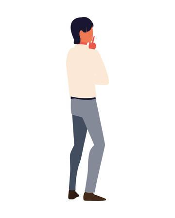 businessman in back position on white background vector illustration design