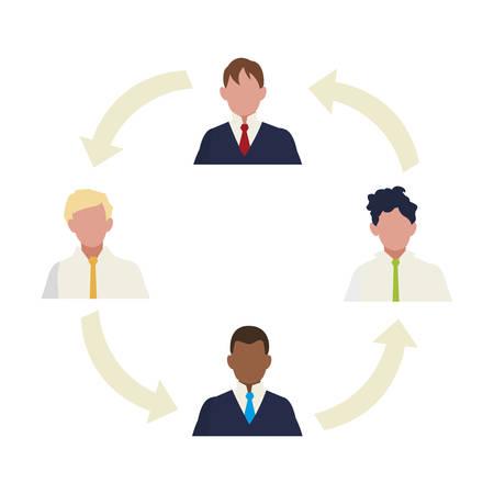 businessmen group teamwork with arrows around vector illustration design