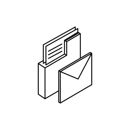 folder documents data with envelope mail vector illustration design