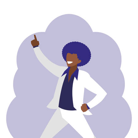 Joven bailarina negra estilo discoteca ilustración Vectorial character design