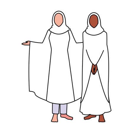 women pilgrim hajj standing on white background vector illustration design Vetores