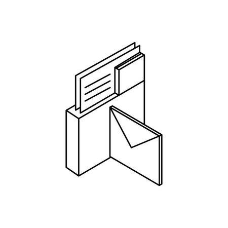folder documents data with envelopes mails vector illustration design