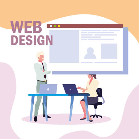 couple of people business in meeting on global planning and marketing research, web design vector illustration design 矢量图像