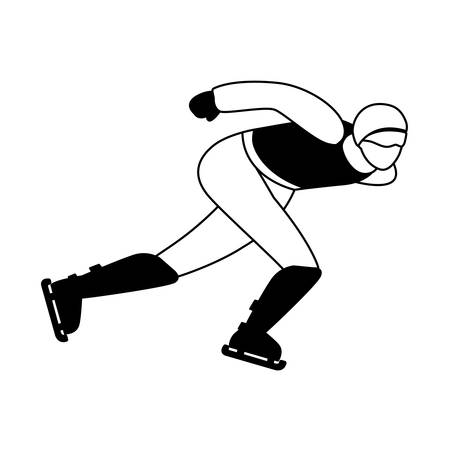 man practicing speed skating on white background vector illustration design