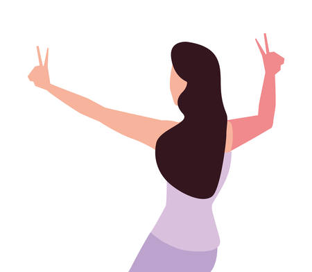 young woman of back position on white background vector illustration design