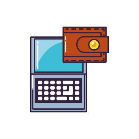 laptop computer with wallet money vector illustration design