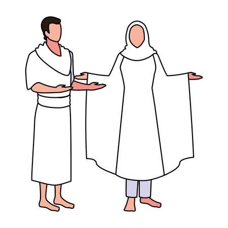 couple of people pilgrims hajj on white background vector illustration design